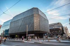 Nova Scena building in Prague. Prague,  Czech Republic - August 18, 2017: Narodni Street and Nova Scena building at sunset Royalty Free Stock Photography