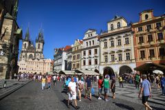 PRAGUE, CZECH REPUBLIC - AUGUST 24, 2016: People walking and loo Royalty Free Stock Photos