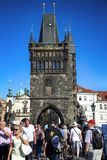 PRAGUE, CZECH REPUBLIC - AUGUST 24, 2016: People walking and loo Royalty Free Stock Images