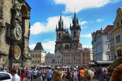 PRAGUE, CZECH REPUBLIC - AUGUST 23, 2016: People walking and loo Royalty Free Stock Photos