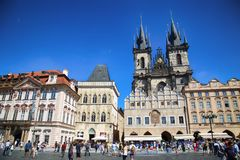PRAGUE, CZECH REPUBLIC - AUGUST 24, 2016: People walking and loo Stock Image