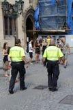 PRAGUE - CZECH REPUBLIC, AUGUST 13 : Policemen patrolling in a street, August 13, 2018. PRAGUE - CZECH REPUBLIC, AUGUST 13 : Policemen patrolling in a street Stock Photo