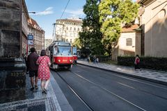 Red tramway in historic centre of Prague Royalty Free Stock Image