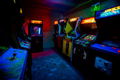 PRAGUE - CZECH REPUBLIC, August 5, 2017 - Detail on 90s Era Old Arcade Video Games in Gaming Bar. PRAGUE - CZECH REPUBLIC, August 5, 2017 - Room full of of 90s Stock Image