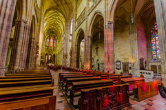 Prague, Czech Republic - 13 August, 2015: St. Vitus cathedral as seen from inside with amazing gothic architecture Stock Images