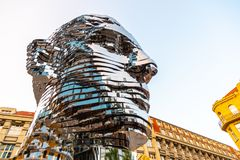 PRAGUE, CZECH REPUBLIC - AUGUST 17, 2018: Statue of Franz Kafka. Glossy metal mechanical sculpture of famous Czech. Writer. Bust by artist David Cerny. Prague stock photos