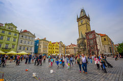 Prague, Czech Republic - 13 August, 2015: Steet view from lively and beautiful old town square, bridgestone plaza with Stock Photos