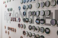 Timeline of Apple products on a wall inside Apple Museum in Prague, Czech Republic. Prague, Czech Republic - August 28, 2018: Timeline of Apple products on a royalty free stock photography