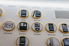 Timeline of Apple products on a wall inside Apple Museum in Prague, Czech Republic stock photography