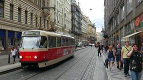 PRAGUE - CZECH REPUBLIC, AUGUST 2015: tram on streets stock video
