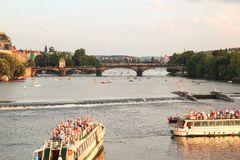 PRAGUE, CZECH REPUBLIC, August 14, 2016, Two large tourist boat royalty free stock photography