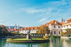 Unidentified people visit Wallenstein Palace currently the home of the Czech Senate in P. Prague, Czech Republic - August 29, 2017: unidentified people visit Royalty Free Stock Images