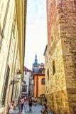 Prague, Czech Republic - Ausgust 17, 2018: Prague Castle narrow l royalty free stock photos