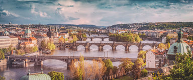 Prague, Czech Republic bridges skyline with historic Charles Bridge and Vltava river. Vintage Royalty Free Stock Photo