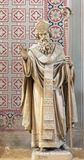 PRAGUE, CZECH REPUBLIC - 2018: The carved statue of Saint Methodius in church Svatého Cyrila Metodeje by Bretislav Kafka. PRAGUE, CZECH REPUBLIC - OCTOBER 17 stock images