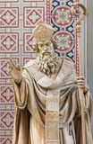 PRAGUE, CZECH REPUBLIC - 2018: The carved statue of Saint Methodius in church Svatého Cyrila Metodeje by Bretislav Kafka. PRAGUE, CZECH REPUBLIC - OCTOBER 17 royalty free stock photography