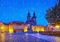 Prague, Czech Republic Central Old Town square. In old town. Night view at Church of Our Lady Before Tyn with nighttime illumination. Christmas holiday. Winter stock photo