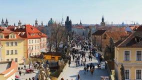 Prague, Czech Republic,Charles Bridge Karluv Most over the Vltava river. Prague, Czech Republic - March 4, 2017: Aerial view of Charles Bridge Karluv Most over stock footage
