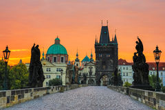 Prague, Czech Republic. Charles Bridge at sunrise, Prague, Czech Republic Stock Photos
