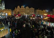 Christmas market on the Old Town Square in Prague, Czech Republic Royalty Free Stock Images