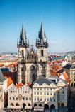 Prague, Czech Republic - Church of Mother of God before Tyn panoramic view Stock Photo