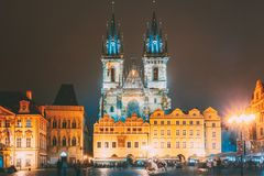 Prague, Czech Republic. Church Of Our Lady Before Tyn In Old Town Square At Night Street Illumination Lights.  royalty free stock photography