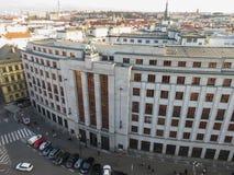 Czech National bank in Prague. PRAGUE, CZECH REPUBLIC - CIRCA DECEMBER 2017: Ceska narodni banka meaning Czech National bank Royalty Free Stock Photography