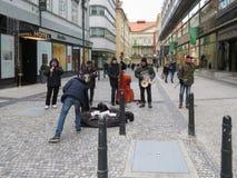 Street musicians in Prague. PRAGUE, CZECH REPUBLIC - CIRCA DECEMBER 2017: unidentified street musicians in Prague Royalty Free Stock Images