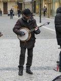 Street musicians in Prague. PRAGUE, CZECH REPUBLIC - CIRCA DECEMBER 2017: unidentified street musicians in Prague Stock Images