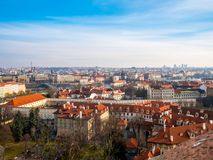 Prague Czech Republic cityscape view blue sky space old town building landmark historical city. Prague Czech Republic cityscape view blue sky orange roof space royalty free stock photography