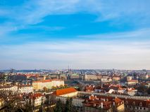 Prague Czech Republic cityscape view blue sky space old town building landmark historical city. Prague Czech Republic cityscape view blue sky orange roof space royalty free stock image