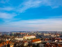 Prague Czech Republic cityscape view blue sky space old town building landmark historical city. Prague Czech Republic cityscape view blue sky orange roof space stock images