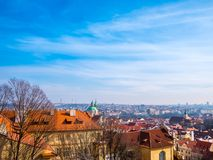 Prague Czech Republic cityscape view blue sky space for text old town building landmark historical city. Prague Czech Republic cityscape view blue sky orange stock image
