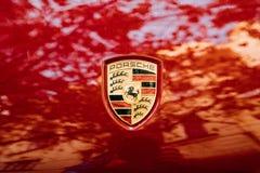 Prague, Czech Republic. Close Logo Logotype Sign Of Porsche On Red Stock Photos