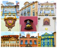 Collage from fragments of facades of old houses and old architecture in old town. Prague, Czech Republic - Collage from fragments of facades of old houses Stock Photo