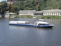 Cruise ship on the Vltava river, Prague, Czech Republic Royalty Free Stock Photos