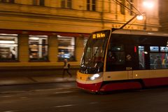 Modern Skoda tram and trolley. PRAGUE, CZECH REPUBLIC / CZECHIA - MACRH 5, 2018: Modern Skoda tram and trolley is on the street. Public transport in the city Royalty Free Stock Photos