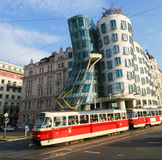 Prague, Czech Republic. The Dancing House or Fred and Ginger, is the nickname given to the Nationale-Nederlanden building on Rasin Embankment in Prague, Czech Stock Image