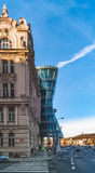 Prague, Czech Republic - Dancing house in Prague on blue sky background Stock Photos