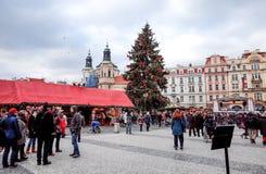 PRAGUE, CZECH REPUBLIC - DEC 23 : traditional christmas.Tourists Royalty Free Stock Photos