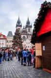 PRAGUE, CZECH REPUBLIC - DEC 23 : traditional christmas.Tourists Stock Images
