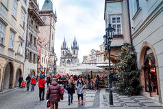 PRAGUE, CZECH REPUBLIC - DEC 23 : traditional christmas.Tourists Stock Image