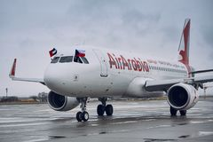 Airbus A320 of Air Arabia. Prague, Czech Republic - December 11, 2018: Air Arabia Airbus A320 taxiing to gate after inaugural flight from Sharjah to Prague on royalty free stock photography