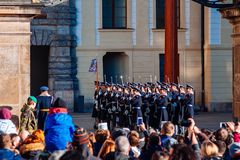 PRAGUE, CZECH REPUBLIC - DECEMBER 23, 2015 : Change of guard of honor near the presidential palace in Prague  Stock Photos