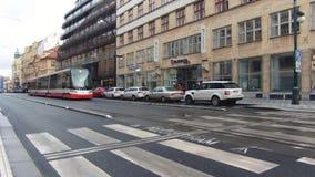 Prague, Czech Republic - December, 2017: cityscape of a typical European street. Traffic of tram stock video