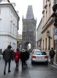 PRAGUE, CZECH REPUBLIC- December 01, 2014: Crowd of people walki Royalty Free Stock Photo