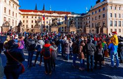 PRAGUE, CZECH REPUBLIC - DECEMBER 23, 2015 : Czechia people and foreigner travelers waiting for the Changing The Guard Stock Image