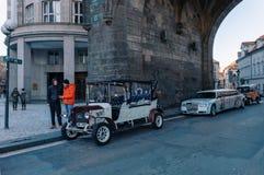 Famous historic car Praga in Prague street royalty free stock photos