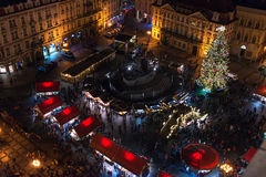 PRAGUE, CZECH REPUBLIC - DECEMBER, 25:iew over Old Town or Staromestska square in  Prague Royalty Free Stock Photo