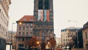 PRAGUE, CZECH REPUBLIC - DECEMBER 3, 2016. 4K steadicam shot of old town street. Ancient european city view stock video footage